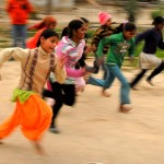 They also get a chance to get out and let off some steam over on the grounds of the Ashram, playing games and running races.