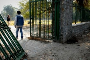 Sarin and Bipul walk through the gates of this dilapidated park, looking for those in need.